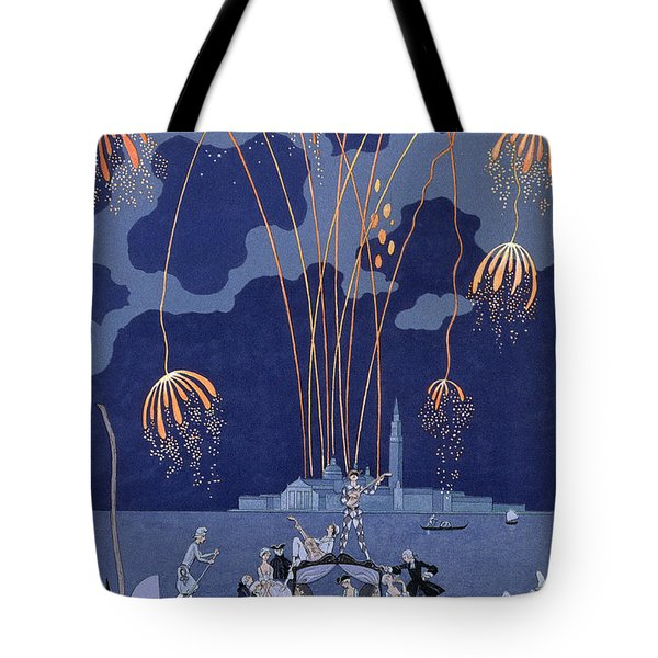 Fireworks In Venice Tote Bag by Georges Barbier