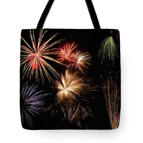 Tote Bag featuring the painting Fireworks by Jeffrey Kolker