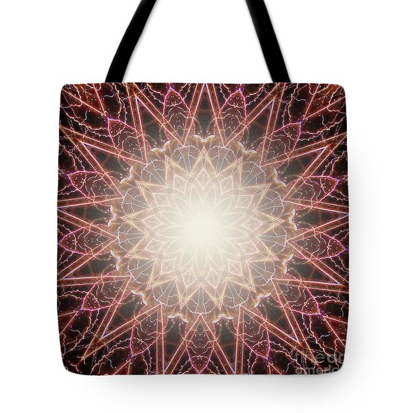 Fireworks Kaleidoscope Tote Bag by Shirley Moravec