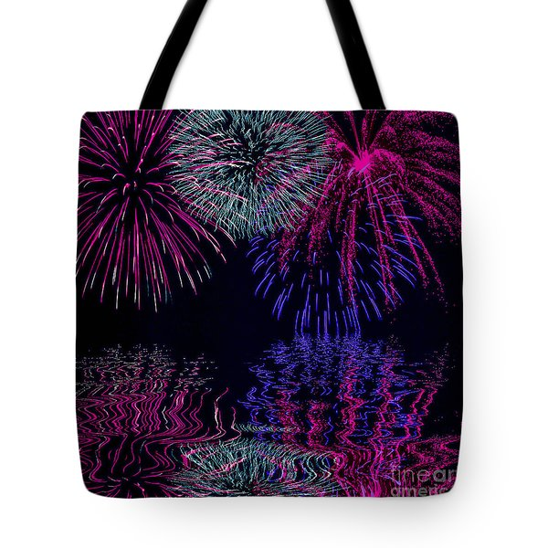 Fireworks Over Open Water 1 Tote Bag by Naomi Burgess