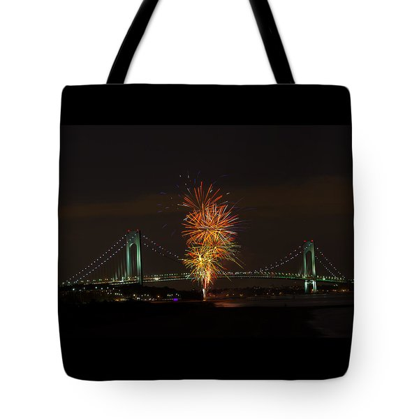 Fireworks Over The Verrazano Narrows Bridge Tote Bag