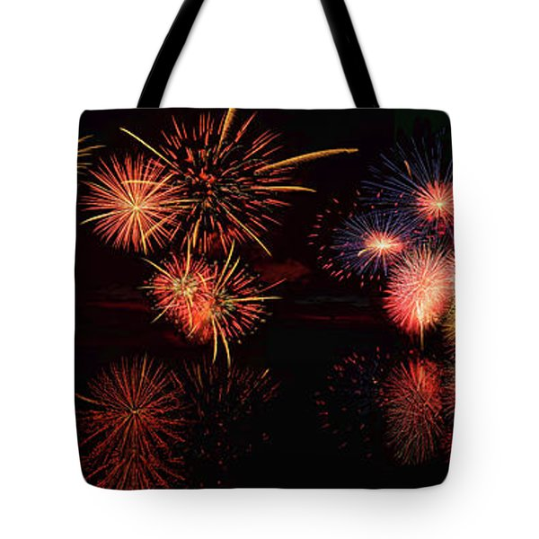 Fireworks Reflection In Water Panorama Tote Bag