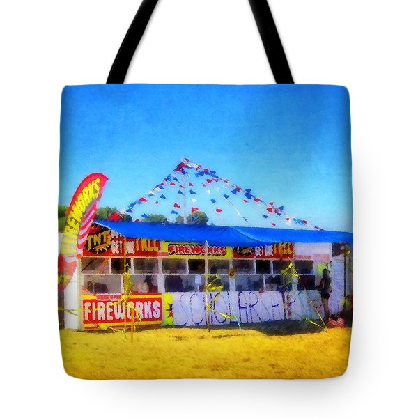 Fireworks Stand Tote Bag by Timothy Bulone