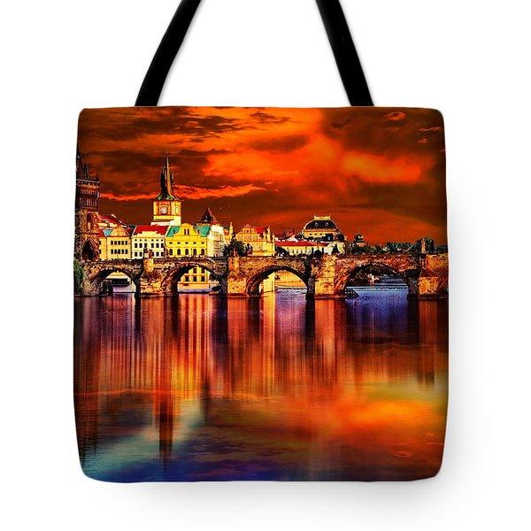 Fiery Prague Sunset Tote Bag