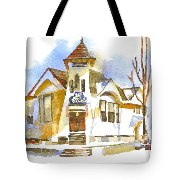 Tote Bag featuring the painting First Baptist Church In Winter by Kip DeVore