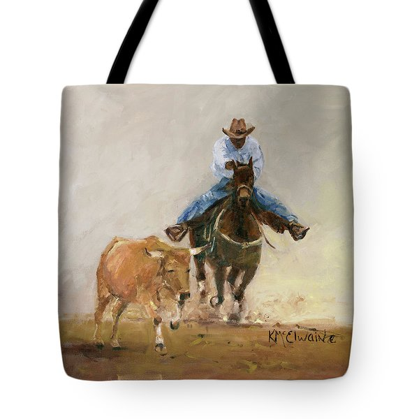 First Bulldogger Bill Picket Oil Painting By Kmcelwaine  Tote Bag