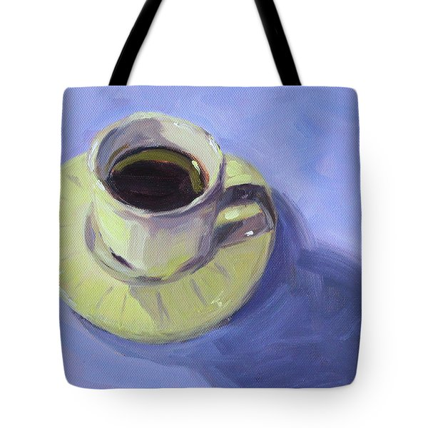 Tote Bag featuring the painting First Cup by Nancy Merkle