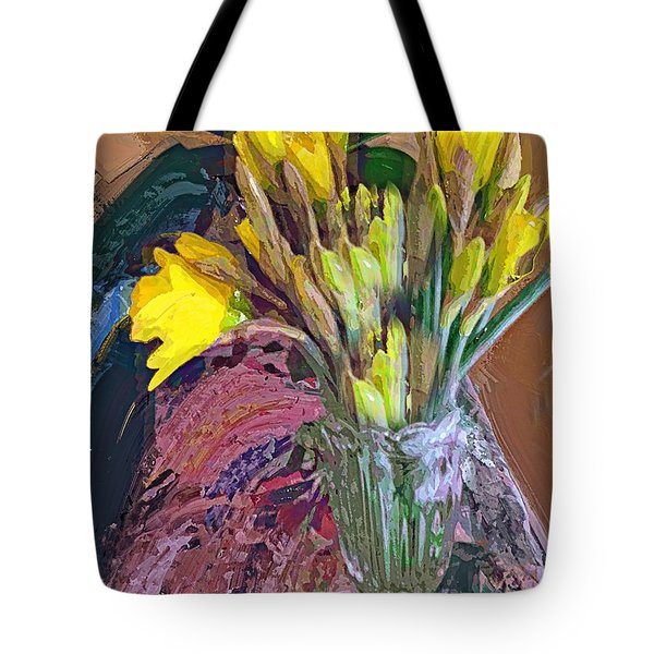 Tote Bag featuring the digital art First Daffodils by Alexis Rotella