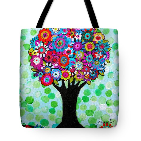 Tote Bag featuring the painting First Day Of Spring by Pristine Cartera Turkus