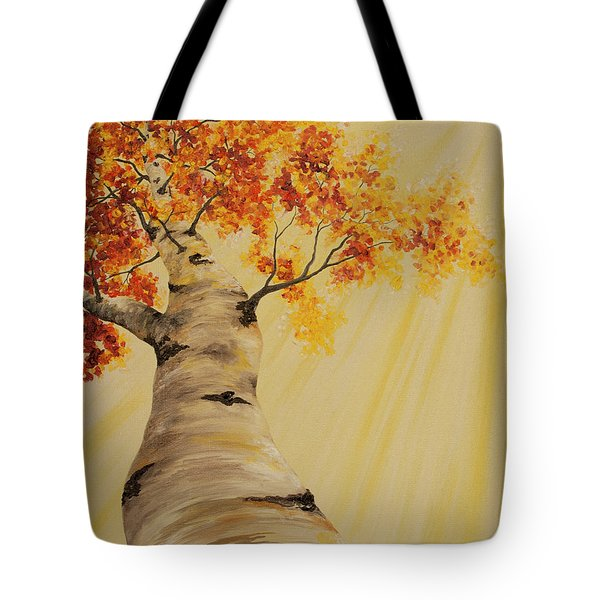 Tote Bag featuring the painting First Fall Light by Melinda Cummings