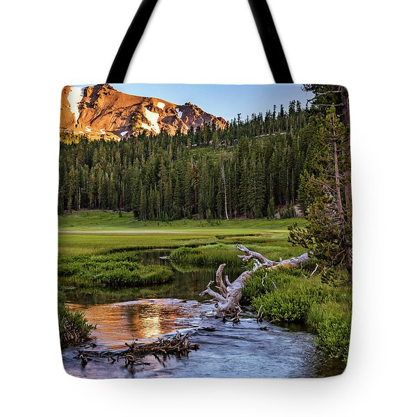Tote Bag featuring the photograph First Light On Lassen From Upper Meadow by John Hight
