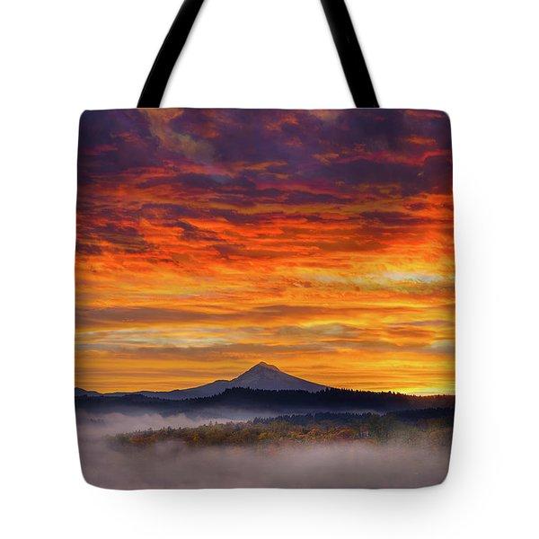 First Light On Mount Hood During Sunrise Tote Bag