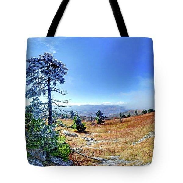 First Light Snow Tote Bag by George Randy Bass