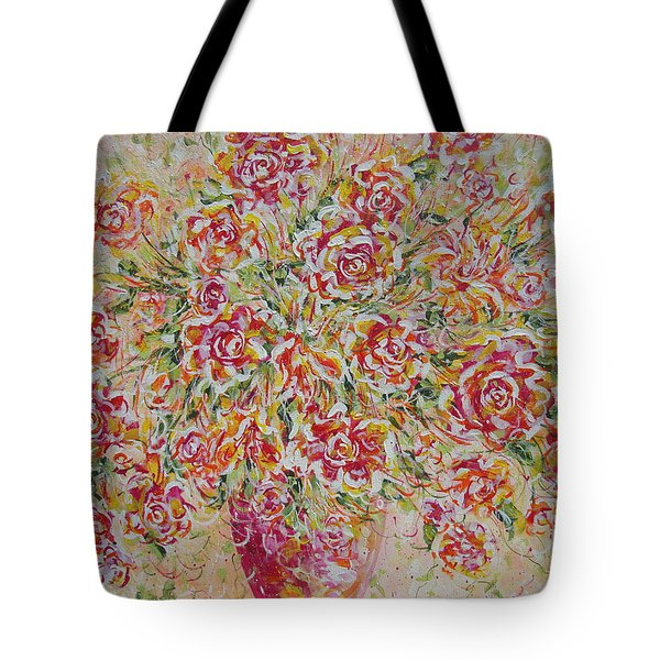 Tote Bag featuring the painting First Love Flowers by Natalie Holland
