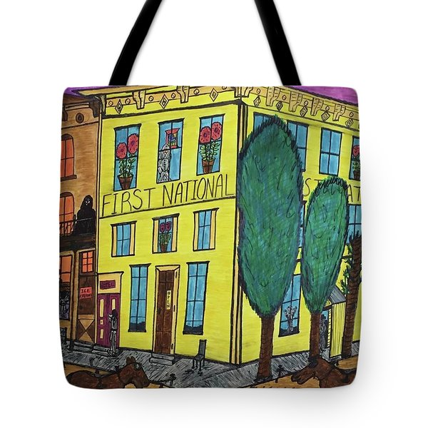 First National Hotel. Historic Menominee Art. Tote Bag