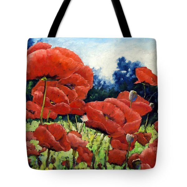 First Of Poppies Tote Bag by Richard T Pranke