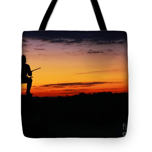 First Pennsylvania Cavalry Sunrise Gettysburg Tote Bag by Randy Steele