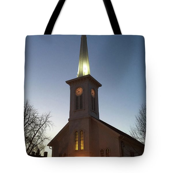 First Presbyterian Churc Babylon N.y After Sunset Tote Bag