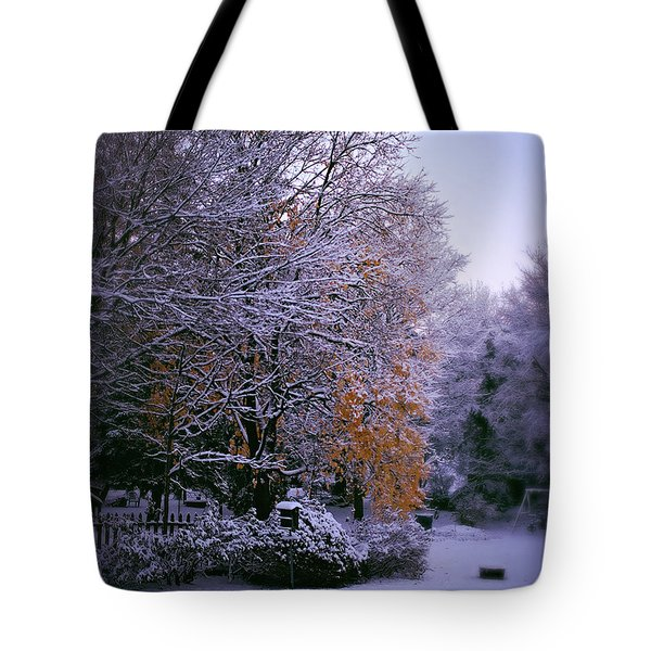 First Snow After Autumn Tote Bag