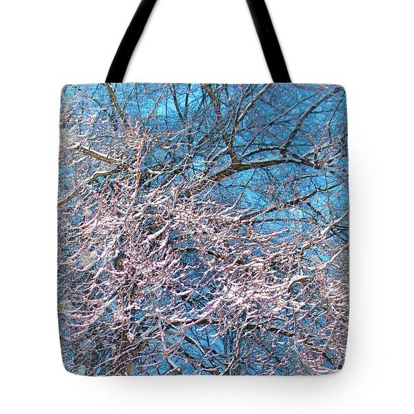 First Snow At Dawn Tote Bag