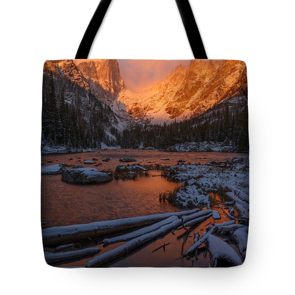 First Snow At Dream Lake Tote Bag by Dustin LeFevre