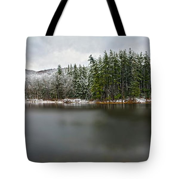 First Snow At Lake Nawahunta Tote Bag by Angelo Marcialis