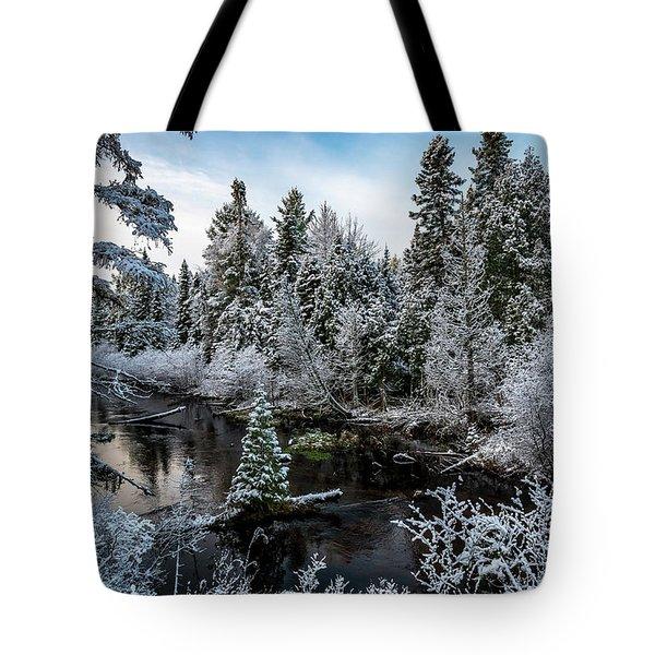 First Snow On Grand Marais Creek Tote Bag