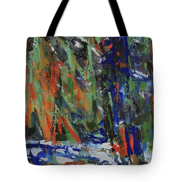 Tote Bag featuring the painting First Snow Over Tenaya Creek by Walter Fahmy