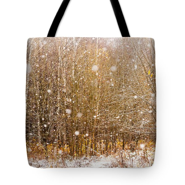 First Snow. Snow Flakes I Tote Bag by Jenny Rainbow