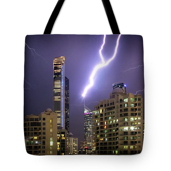 Tote Bag featuring the photograph First Strike by Az Jackson