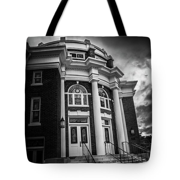 First United Methodist Church In The Light In Black And White Tote Bag by Greg Mimbs
