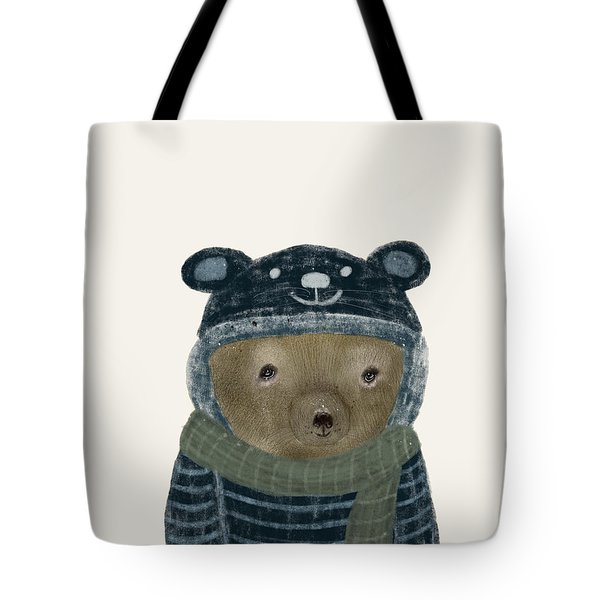 Tote Bag featuring the painting First Winter Bear by Bri B