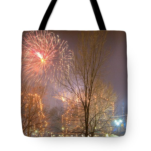 Tote Bag featuring the photograph Firstnight Fireworks by Susan Cole Kelly
