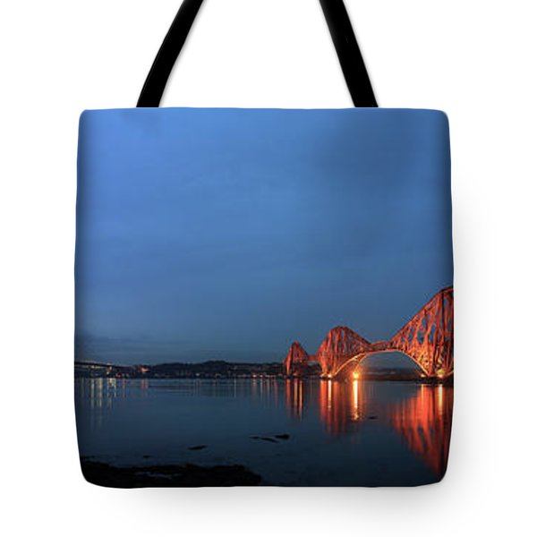 Tote Bag featuring the photograph Firth Of Forth Bridges At Twilight - Panorama by Maria Gaellman