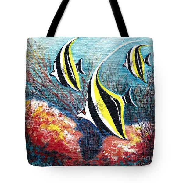 Moorish Idol Fish And Coral Reef Tote Bag