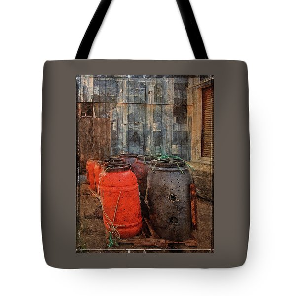 Tote Bag featuring the photograph Fish Barrels by Thom Zehrfeld
