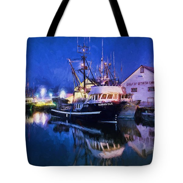 Fish Boats Tote Bag by Jim  Hatch