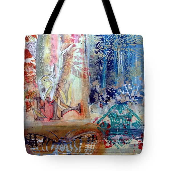 Tote Bag featuring the mixed media Fish Collage #1 by Rose Legge