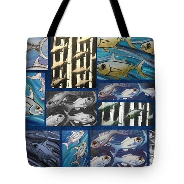 Fish Collage Tote Bag