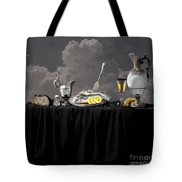 Tote Bag featuring the digital art Fish Diner In Silver by Alexa Szlavics