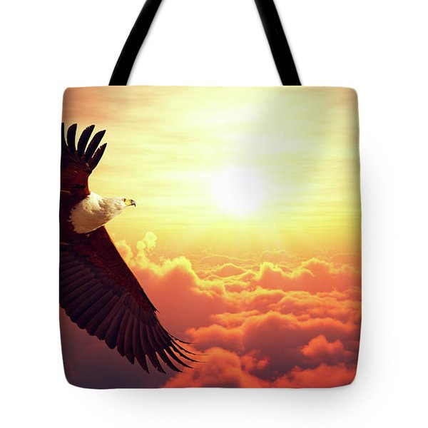 Fish Eagle Flying Above Clouds Tote Bag