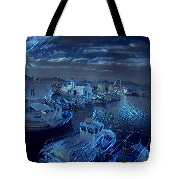 Fish Harbour Paros Island Greece Tote Bag