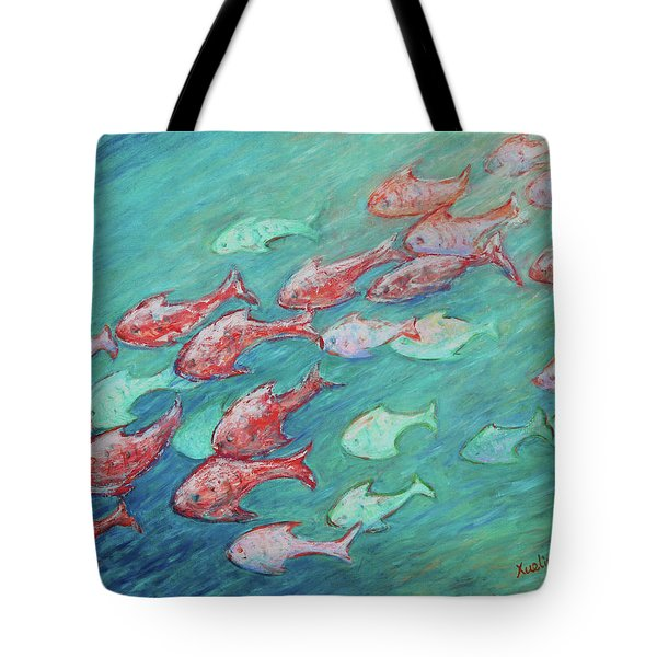 Tote Bag featuring the painting Fish In Abundance by Xueling Zou