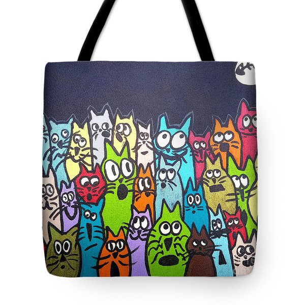 Fish Moon Cats Tote Bag