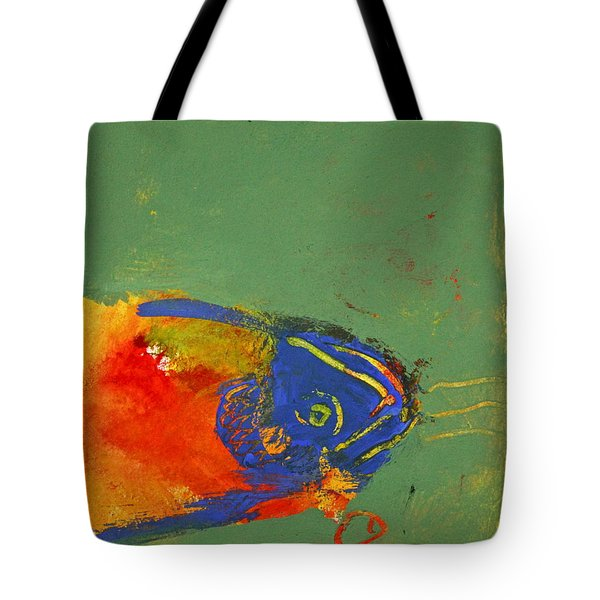 Tote Bag featuring the painting Fish Pondering The Anomaly Of Mans Anamnesis by Cliff Spohn