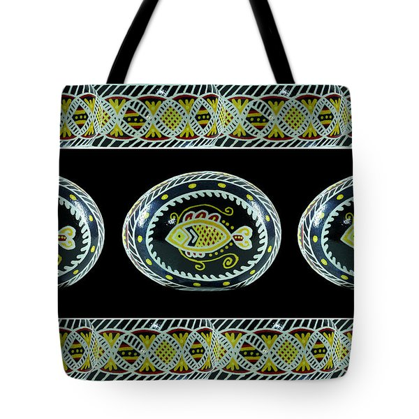 Fish Pysanky Black Tote Bag