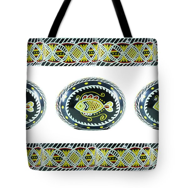 Fish Pysanky White Tote Bag