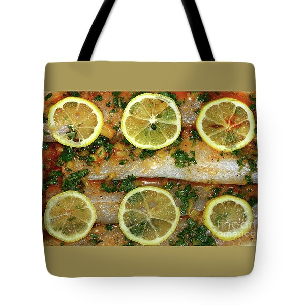 Tote Bag featuring the photograph Fish With Lemon And Coriander By Kaye Menner by Kaye Menner