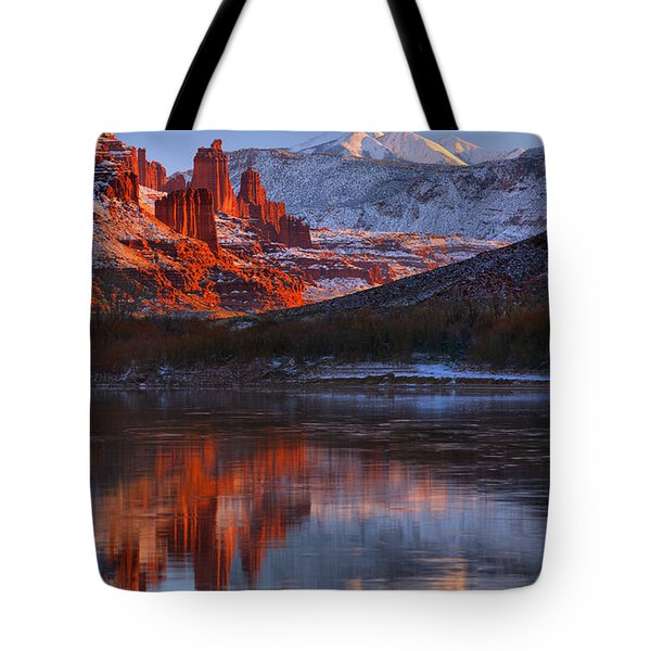 Tote Bag featuring the photograph Fisher Towers And La Sal Mountains by Adam Jewell
