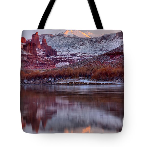 Tote Bag featuring the photograph Fisher Towers Fading Sunset by Adam Jewell